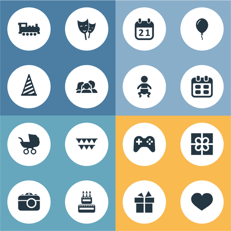 Vector Illustration Set Of Simple Holiday Icons. Elements Mask, Ribbon, Train And Other Synonyms Camera, Date And Gift. Illustration