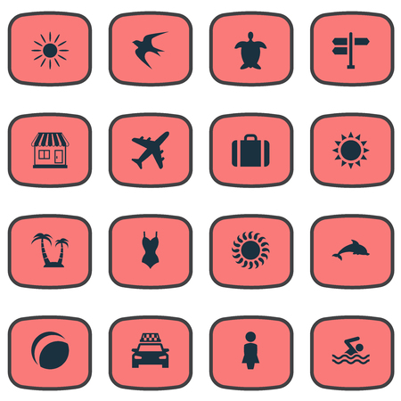 Vector Illustration Set Of Simple Seaside Icons. Elements Sun, Tortoise, Swallow And Other Synonyms Games, Adventure And Island. Illustration