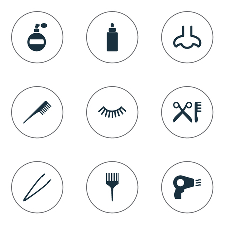Vector Illustration Set Of Simple Cosmetics Icons. Elements Pincers, Smell, Mascara And Other Synonyms Nose, Tweezers And Hairdresser.