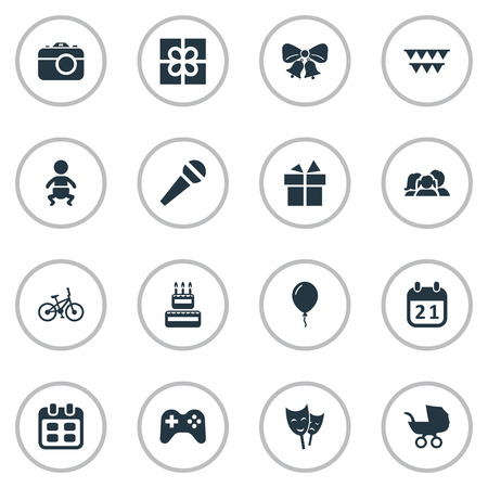 Vector Illustration Set Of Simple Birthday Icons. Elements Ribbon, Special Day, Box And Other Synonyms Carriage, People And Baby.