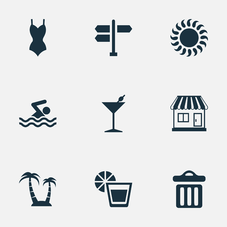 Vector Illustration Set Of Simple Beach Icons. Elements Bikini, Cocktail, Crossroad And Other Synonyms Pool, Beachwear And Garbage.