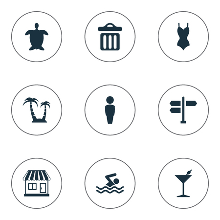 Vector Illustration Set Of Simple Seaside Icons. Elements Palm, Crossroad, Tortoise And Other Synonyms Trash, Gentleman And Crossroad.