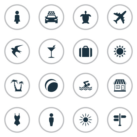 Vector Illustration Set Of Simple Beach Icons. Elements Sun, Male, Tortoise And Other Synonyms Gentleman, Trip And Taxi.