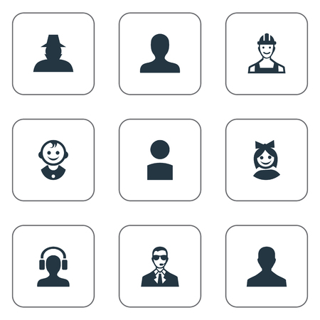 Vector Illustration Set Of Simple Avatar Icons. Elements Agent, Male User, Young Shaver And Other Synonyms Headphone, Face And Man.