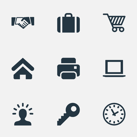 Vector Illustration Set Of Simple Business Icons. Elements User, Clock, Printing Machine And Other Synonyms Timer, Key And Profile.