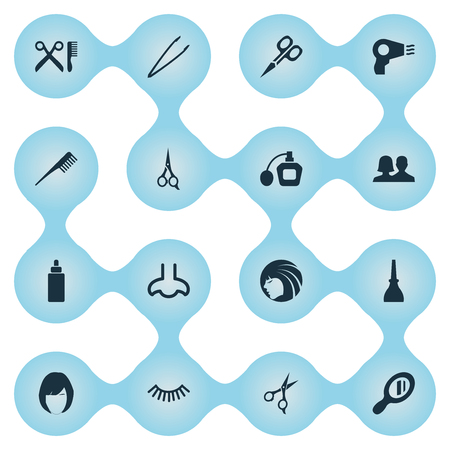 Vector illustratie Set van eenvoudige schoonheid iconen. Elements Serum, Crest, Beauty and Other Synoniemen Beautiful, Pincet en Dropper.