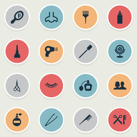 Vector Illustration Set Of Simple Salon Icons. Elements Crest, Pincers, Smell And Other Synonyms Perume, Tool And Beauty.