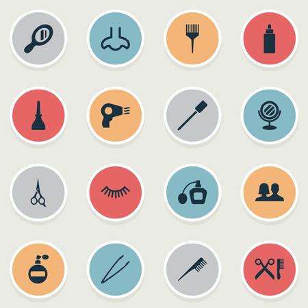 Vectorillustratiereeks Eenvoudige Salonpictogrammen. Elements Crest, Pincers, Smell And Other Synoniemen Perume, Tool And Beauty.