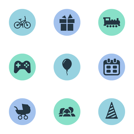 festal: Vector Illustration Set Of Simple Holiday Icons. Elements Bicycle, Aerostat, Days And Other Synonyms Schedule, Ribbon And Days. Illustration