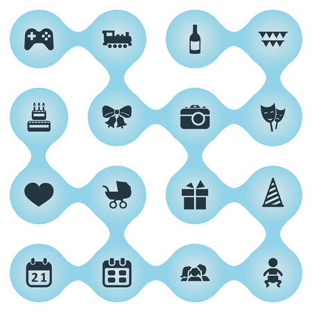 Vector Illustration Set Of Simple Birthday Icons. Elements Mask, Train, Cap And Other Synonyms Mask, Actor And Ribbon.