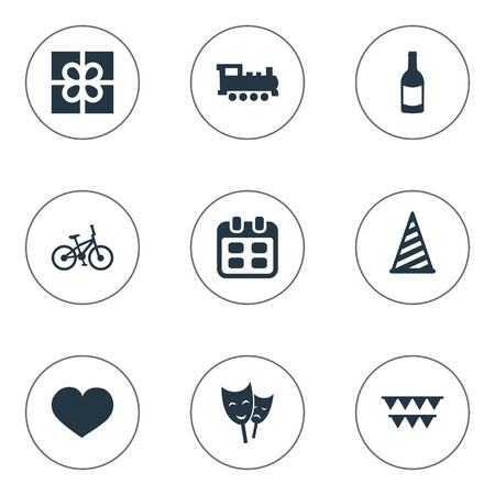 Vector Illustration Set Of Simple Holiday Icons. Elements Decorations;, Days, Beverage And Other Synonyms Bicycle, Fizz And Flags. Imagens - 77610318