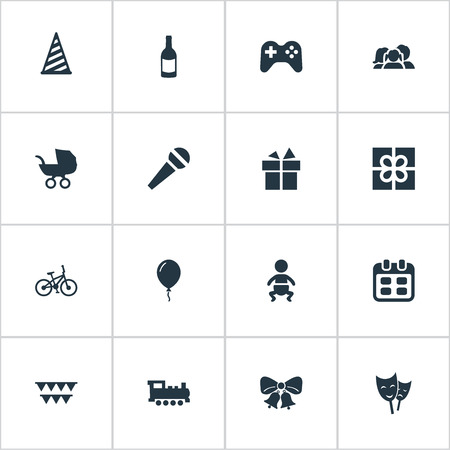Vector Illustration Set Of Simple Celebration Icons. Elements Resonate, Speech, Bicycle And Other Synonyms Hat, Aerostat And Locomotive.