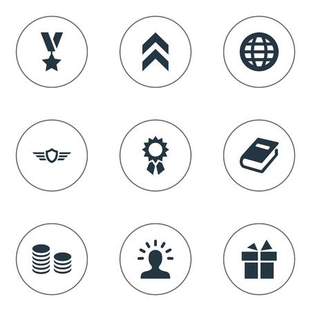 벡터 일러스트 레이 션 간단한 어워드 아이콘의 집합입니다. 요소 제시, 성장 다이어그램, 문학 및 기타 동의어 보상, 상징 및 수상.