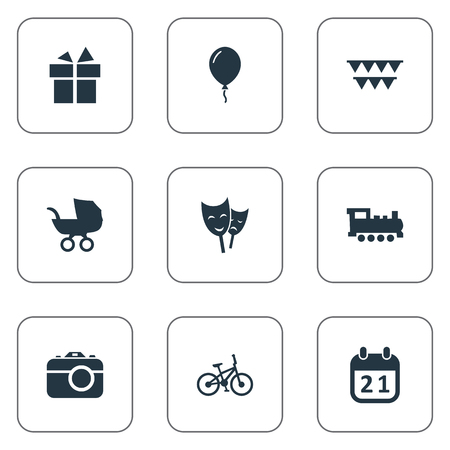 Vector Illustration Set Of Simple Holiday Icons. Elements Special Day, Aerostat, Baby Carriage And Other Synonyms Camera, History And Flags. Illustration
