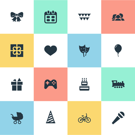 Vector Illustration Set Of Simple Birthday Icons. Elements Game, Ribbon, Confectionery And Other Synonyms Mask, Party And Schedule.