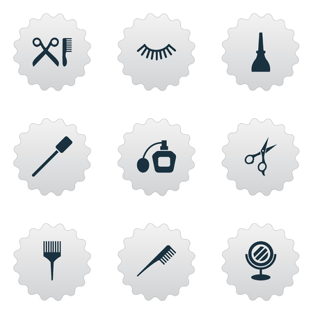 Vector Illustration Set Of Simple Salon Icons. Elements Eyelash Brush, Scissors, Comb And Other Synonyms Hairstylist, Hairdresser And Beauty. Illustration