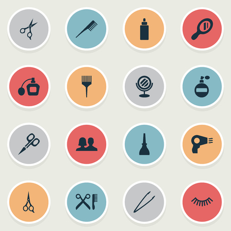 Vector Illustration Set Of Simple Salon Icons. Elements Reflection, Glass, Barbershop And Other Synonyms Shears, Coloring And Fragrance. Ilustrace