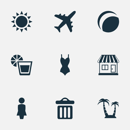 Vector Illustration Set Of Simple Seaside Icons. Elements Beverage, Bikini, Sun And Other Synonyms Beachwear, Woman And Palm.