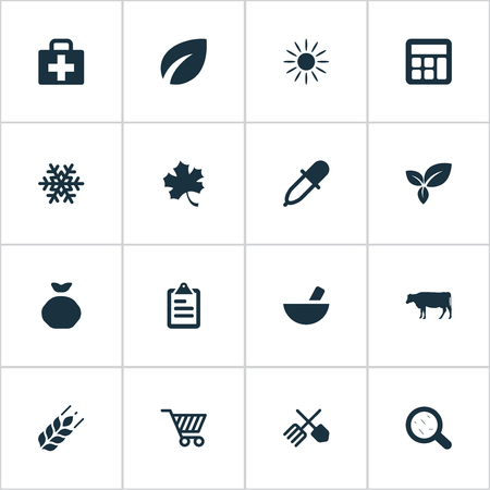 insolación: Vector Illustration Set Of Simple Agriculture Icons. Elements Cart, Wheat, Cow And Other Synonyms Insolation, Sunlight And Snow.