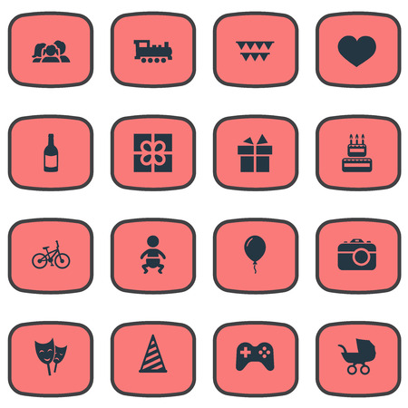 Vector Illustration Set Of Simple Celebration Icons. Elements Ribbon, Box, Baby Carriage And Other Synonyms Feelings, Actor And Balloon.