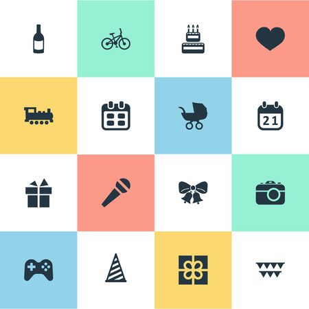 Vector Illustration Set Of Simple Celebration Icons. Elements Decorations;, Days, Camera And Other Synonyms Ribbon, Camera And Photo.