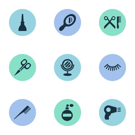 A Vector Illustration Set Of Simple Salon Icons. Elements Crest, Mascara, Reflection And Other Synonyms Bottle, Salon And Handle. Illustration