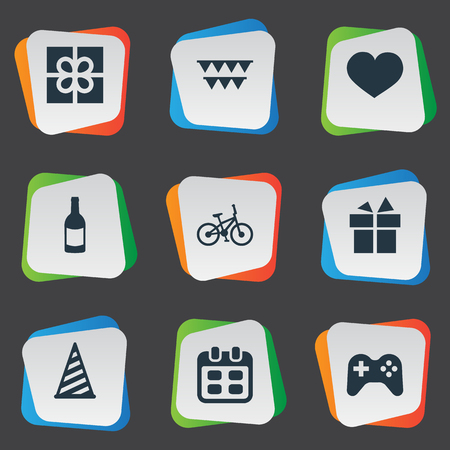 A Vector Illustration Set Of Simple Birthday Icons. Elements Cap, Beverage, Ribbon And Other Synonyms Cap, Bicycle And Days. Ilustração