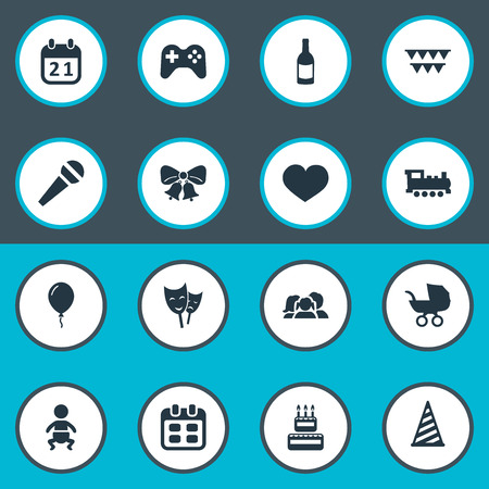A Vector Illustration Set Of Simple Celebration Icons. Elements Baby Carriage, Resonate, Train And Other Synonyms Steam, Days And Fizz.