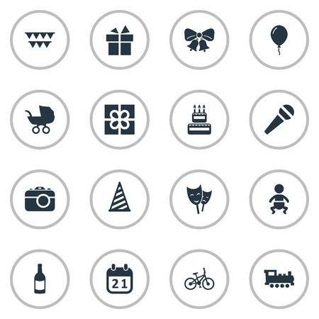 A Vector Illustration Set Of Simple Celebration Icons. Elements Ribbon, Cap, Resonate And Other Synonyms Box, Carriage And Sport.