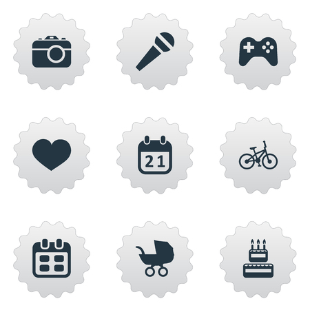 A Vector Illustration Set Of Simple Birthday Icons. Elements Speech, Days, Special Day And Other Synonyms Baby, Sweetmeat And Microphone.