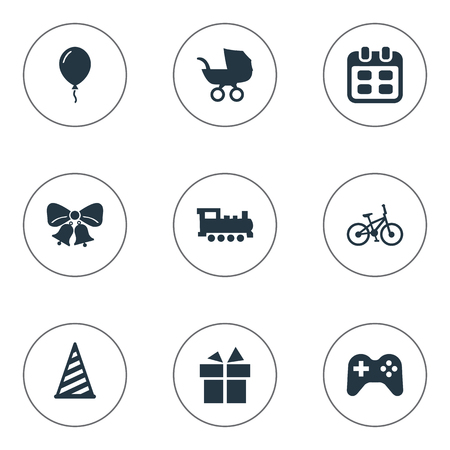 Vector Illustration Set Of Simple Holiday Icons. Elements Days, Resonate, Cap And Other Synonyms Aerostat, Carriage And Days.