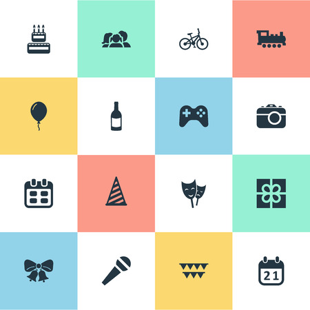 burning paper: Vector Illustration Set Of Simple Birthday Icons. Elements Box, Confectionery, Resonate And Other Synonyms Photo, Mask And Bicycle.
