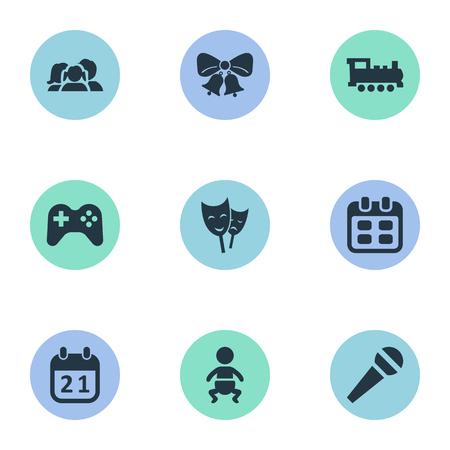 Illustration vectorielle Ensemble d'icônes simples de vacances. Éléments Masques, nourrissons, trains et autres synonymes Cloches, jours et date. Banque d'images - 77611612