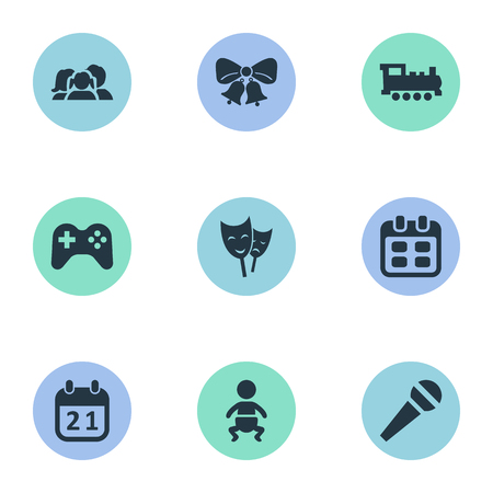 festal: Vector Illustration Set Of Simple Holiday Icons. Elements Mask, Infant, Train And Other Synonyms Bells, Days And Date.