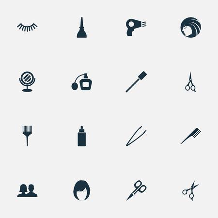 Vector Illustration Set Of Simple Beauty Icons. Elements Perfume, Reflection, Eyelash Brush And Other Synonyms Polish, Brush And Beauty.