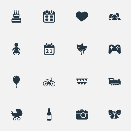 Illustration Set Of Simple Holiday Icons Elements Train, Confectionery, Decorations; And Other Synonyms Schedule, Jingle And Champagne. Illustration