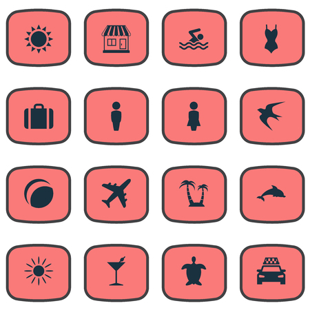 Vector Illustration Set Of Simple Beach Icons. Elements Airplane, Store, Swallow And Other Synonyms Sun, Baggage And Madame.