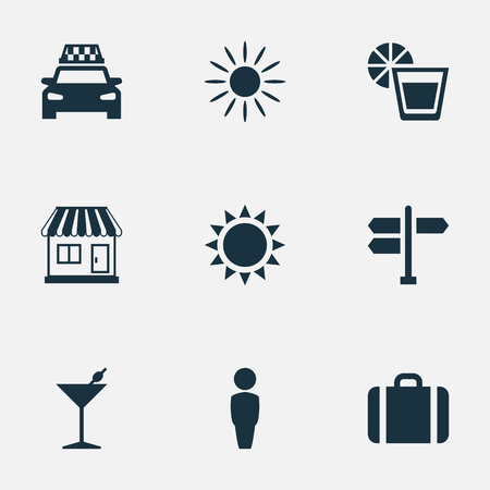 Vector Illustration Set Of Simple Seaside Icons. Elements Taxi, Crossroad, Male And Other Synonyms Male, Summer And Sunshine.