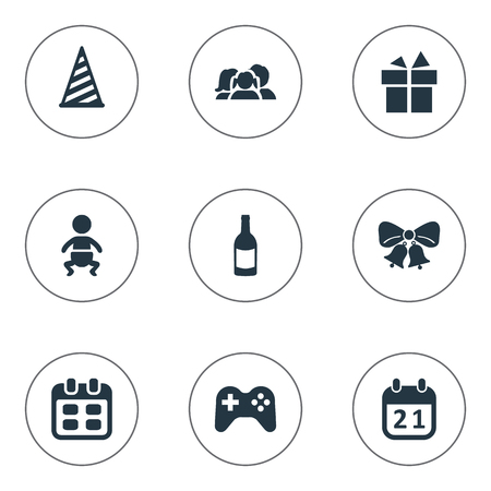 Vector Illustration Set Of Simple Holiday Icons. Elements Cap, Infant, Domestic And Other Synonyms Game, Date And Baby.