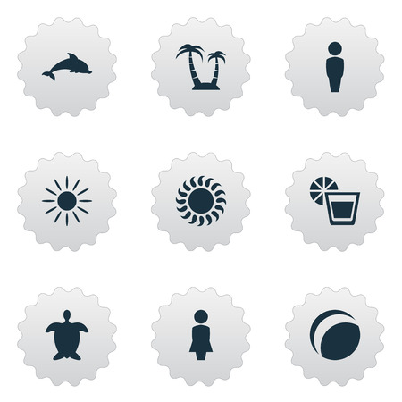 Illustration Set Of Simple Beach Icons Elements Sunlight, Beach Games, Male And Other Synonyms Gentleman, Beach And Lady.