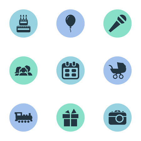 Vector Illustration Set Of Simple Celebration Icons. Elements Train, Speech, Aerostat And Other Synonyms Days, Train And Balloon.