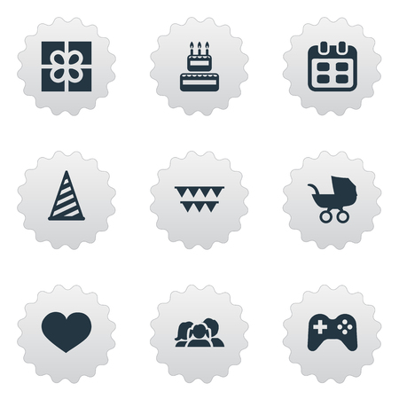 Vector Illustration Set Of Simple Celebration Icons. Elements Box, Game, Days And Other Synonyms Hat, Cap And Baby.