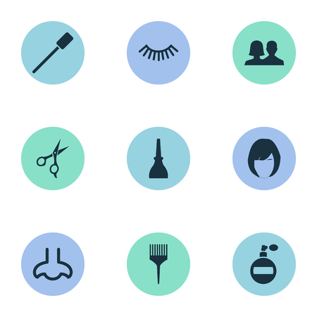 Vector Illustration Set Of Simple Spa Icons. Elements Eyelash Brush, Comb, Fragrance And Other Synonyms Hairstylist, Nails And Mascara. Illustration
