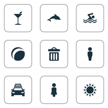 Vector Illustration Set Of Simple Beach Icons. Elements Cocktail, Woman, Garbage And Other Synonyms Bar, Trash And Cocktail.