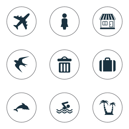 Illustration Set Of Simple Beach Icons Elements Mammal Fish, Swimming Man, Garbage And Other Synonyms Mammalian, Seagull And Beach.