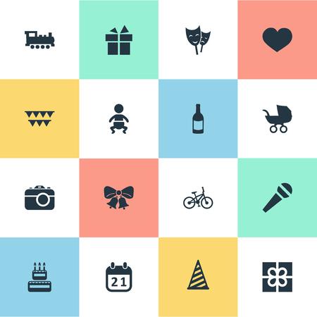Vector illustratie Set van eenvoudige verjaardag iconen. Elementen Kinderwagen, Resonate, Special Day en andere synoniemen Sport, decoraties en jingle.