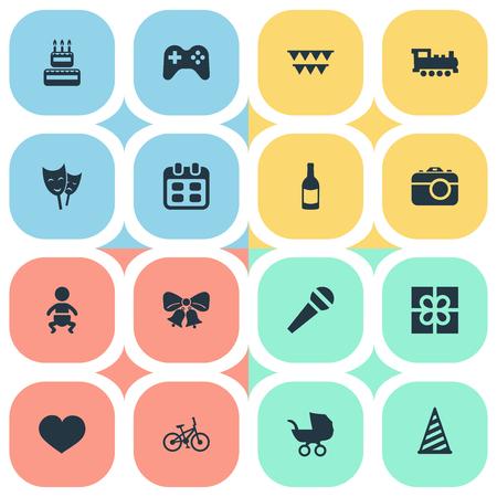 Vector illustratie Set van eenvoudige viering iconen. Elementen GLB, kinderwagen, fiets en andere synoniemenfeest, champagne en doos. Stock Illustratie