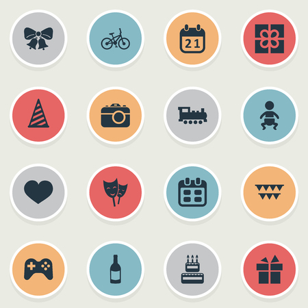 Vector Illustration Set Of Simple Celebration Icons. Elements Camera, Soul, Mask And Other Synonyms Locomotive, Bicycle And Prize.