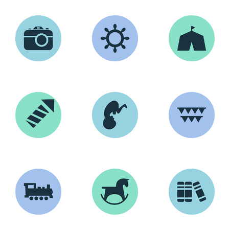 Vector Illustration Set Of Simple Child Icons. Elements Festival, Pony, Sparkler And Other Synonyms Library, Circus And Holidays.