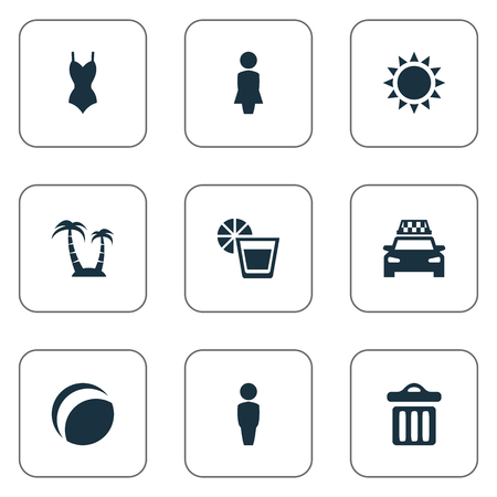 Vector Illustration Set Of Simple Seaside Icons. Elements Sun, Woman, Taxi And Other Synonyms Lemonade, Dustbin And Games.